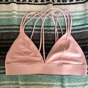 PINK Rose Colored Strappy Triangle Bralette